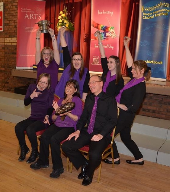 Seven members including three directors celebrate winning at Bangor Choral Festival